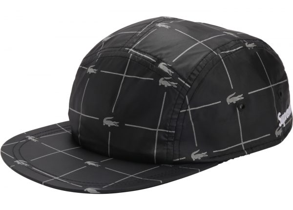 93565e3d Supreme LACOSTE Reflective Grid Nylon Camp Cap Black - kickstw