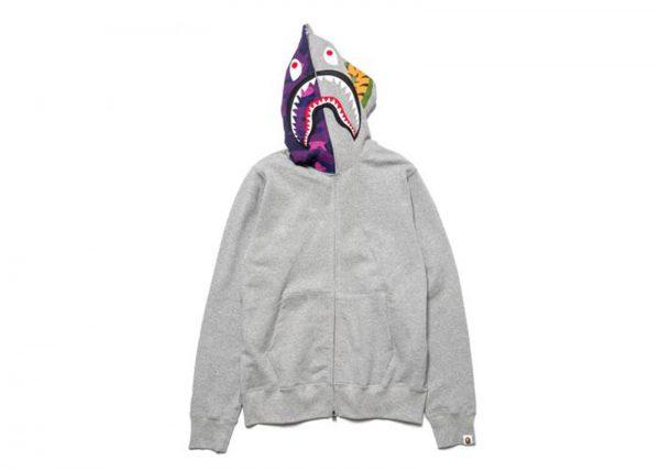 9aad85f02d009 Bape Purple Camo Shark Full Zip Hoodie Grey - kickstw