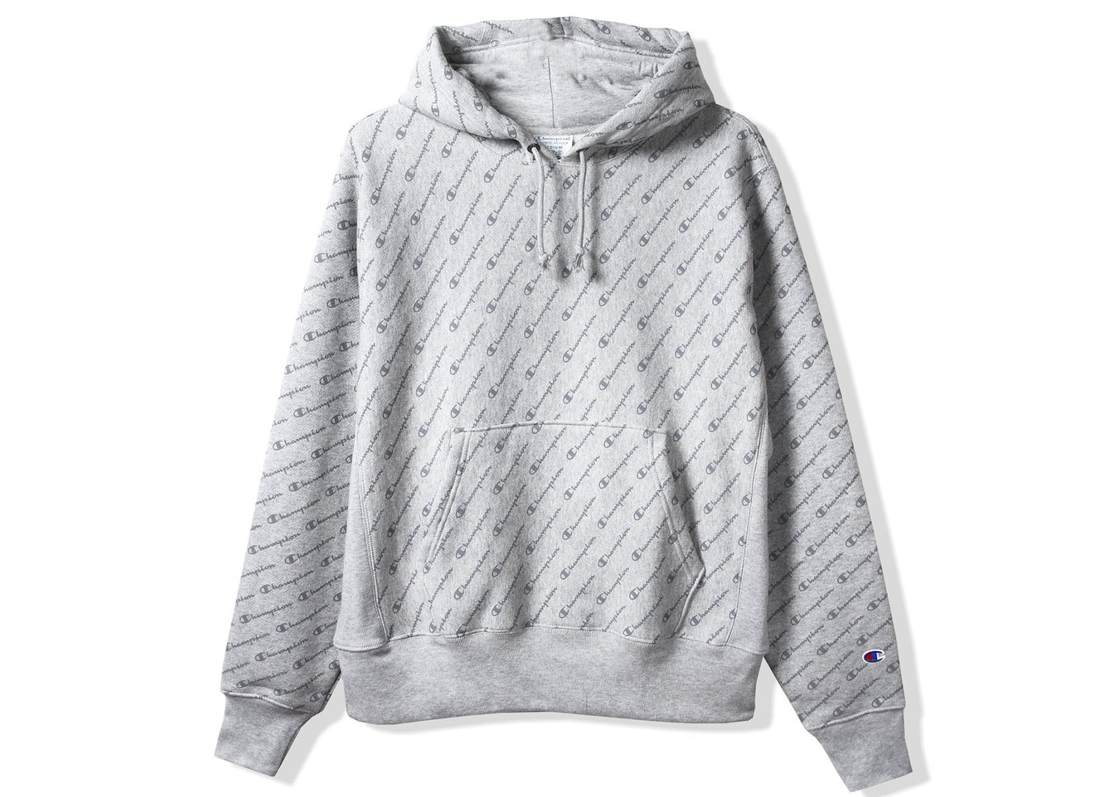 feaccede397d Champion Reverse Weave All Over Diagonal Script Hoodie Grey - kickstw