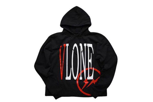 Bape X Kaws >> Vlone x Fragment OG Logo Red V Hoodie Black - kickstw